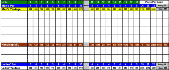 Mountain Meadows Golf Course 2012 Score Card